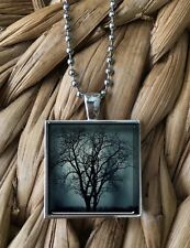 Tree Silhouette Nature Dark Emo Cool Glass Pendant Silver Chain Necklace NEW