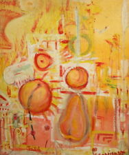Bulgarian Art, Abstract Cubist Oil Painting, Still Life, Signed