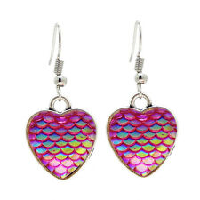 Handicraft Metal Heart Shaped Base Bezel Frame Mermaid Scale Cabochon Earring
