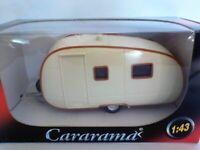 Caravan - White (Brown trim),TRAILER, RV, MOTOR, HOME. MODEL, 1:43, CARARAMA.