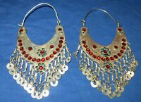 Earrings Hoop Afghan Kuchi Tribal Alpaca Silver 3""