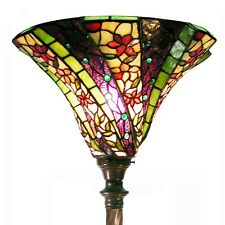 Tiffany Style 3D Purple Wave 1915+BB75B Stained Glass Touchier Torch Floor Lamp