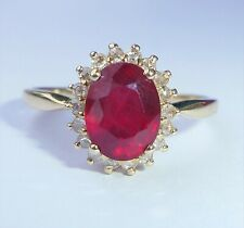 Vintage 9ct Gold Garnet & Diamond Halo Ring, Size P