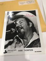 Hank Thompson Country Music Star Signed  Autographed Photo 8 x 10 1981