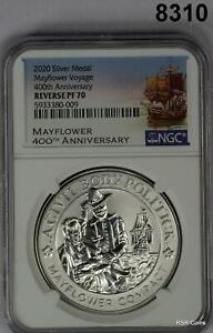 2020 MAYFLOWER 400TH ANNIVERSARY NGC CERTIFIED REVERSE PF70 MEDAL #8310