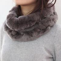 Lady Real Rex Rabbit Fur Scarf Neck Collar Neck Warm Infinity Muffler 51427
