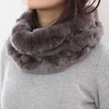 2019 Damen Rex Kaninchen Pelzschal Stirnband Warm Infinity Scarf Neu 41427