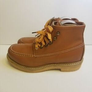 HY-Test Mens Size 5D Tan Vintage Leather Work Steel Toe Boots