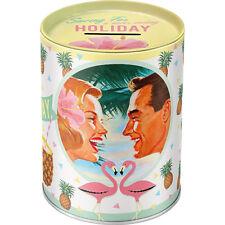 """Saving For a..."" Vintage HOLIDAY Tiki PINEAPPLE Flamingo Blech 50s Spardose Roc"