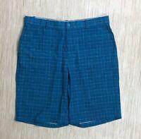 Nike Golf Dri-Fit Blue Plaid Shorts Men's Size 36 Flat Front Five Pocket