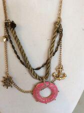 Betsey Johnson Nautical Pink Life Saver , Anchor Necklace Rare HTF W-58