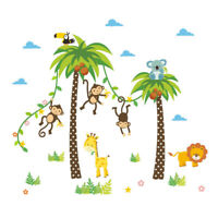 Wandtattoo Affe Wandsticker Wandaufkleber Dschungel Palme Kinderzimmer Neu MOO