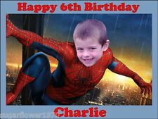 Personalised Spiderman own photo edible icing birthday cake topper Rectangle