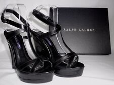 NEW RALPH LAUREN Ladies ATARA Black Leather Wedge Sandals Shoes UK 5 EU 37.5
