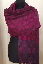 Ruby And Black Cashmere Wrap/Scarf With Green/Pink And Black Patterned Border