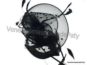Black Feather Fascinator hat sexy veil Masquerade Ball eye mask Wedding party