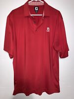 Footjoy Mens Large Cessna Aircraft Red Short Sleeve 1/4 Button Polo