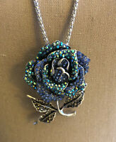 """Betsey Johnson Blue/Silver Rose Necklace/Brooch NWT ~Free Shipping~ 30"""" Chain"""
