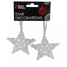 Christmas Clear Acrylic Hanging Tree Decorations - 2 Pack 10cm Bubble Stars