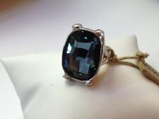 """NWT Uno de 50 Silver-Plated Ring W/ Blue Swarovski Crystal """"Hold On"""" SIZE 7"""