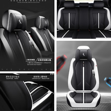 Breathable Black & White Luxury Microfiber Leather Car 5-Seat Cover Seat Cushion