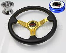 Gold Steering Wheel Kit w/Quick Release Blue For Hyundai Accent Genesis Tiburon