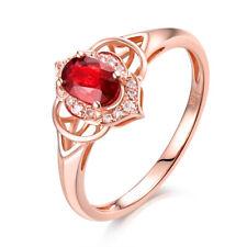 18K Rose Gold Diamond & Ruby Engagment Wedding Fine Women Vintage Ring