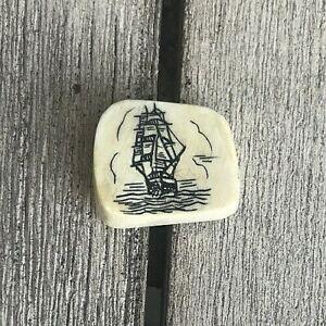Vintage Clipper Ship Sail Boat Nautical Silver-tone Tie Tack w/ Chain Lapel Pin