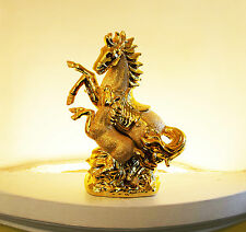 ITALIAN GOLD CHROME HORSE WITH FOAL 25CM TALL HOME DECOR ORNAMENT GIFT