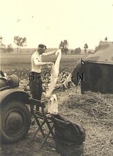 WWII German Large RP- Army Soldier- Semi Nude- Gay Interest- Washing- Tent- Car