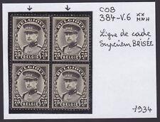 Belgique 1934 VARIETE Balasse 384-V6 x2 Dans Bloc de 4 timbres MNH** Luxe..A5139
