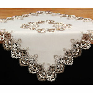 Noble Jacquard Lace Tablecloth Tabletopper Braun White app. 34x34 inch Polyester