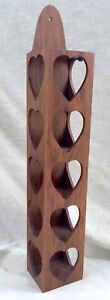 Vintage Solid Walnut Wall Shadow Box/Shelf with Heart Cut-Outs