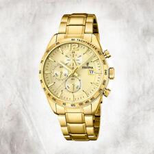 Relojes de pulsera Chrono de acero inoxidable dorado para hombre