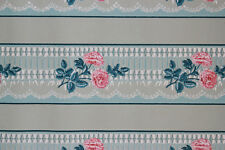 1930's Antique Vintage Wallpaper Border Pink Rose Lace on Blue