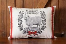 Primitive Country Christmas Sheep 100% Cotton Holiday Throw Pillow