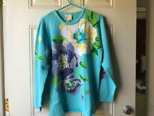 NWT Belle Isle Knits Tunic, Medium, Light Blue with floral