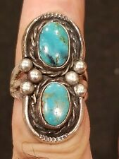 Vintage Navajo Native American Handmade Sterling Silver Turquoise Ring Size 6.5