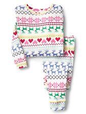GAP Baby Girls Size 6-12 Months Christmas Festive Reindeer Pajamas PJ Sleep Set
