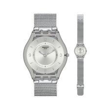 Swatch Skins Metal Knit Silver Mesh Watch SFM118M