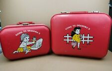 Set Of 2 Vintage 1960s Going To Grandma's Hard Shell Suitcase Girls Red - READ