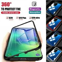 Magnetic Adsorption Metal Full Body Case Glass Cover Samsung S20 FE S20+ Ultra