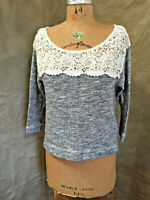 Women's Abercrombie & Fitch LACE Sweatshirt Gray SILVER SPARKLE Sweater Top S