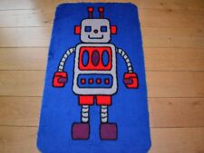 New Boys Blue Red Robot Large Small Size Rug Fluffy Soft Bedroom Floor Mat Cheap