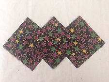 """170- 5""""  FABRIC   SQUARES -  Stars with METALLIC gold color BY MARCUS BROTHER"""