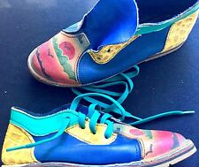 Jazz Fest Artist-made Custom Painted Leather Flat Lace-up Rubber Sole Shoes