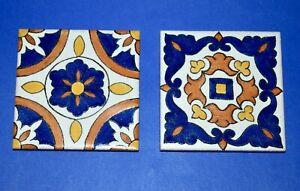 "Lot of 2 California Classic BILTMORE Blue Yellow TILE 4"" Handpainted Terracotta"