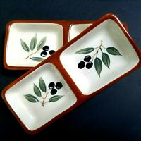 Inspirada Olive Design Small Rectangle Divided Dish StoneLite Clay Set of 2
