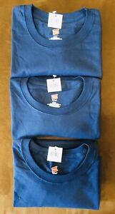 Hanes tagless crewneck neck t-shirt lot of 3 navy blue short sleeve shirts L new