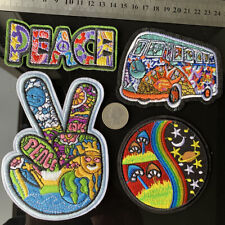 4Pc Peace Boho Mushroom Hippie Retro Patch 60s Art Embroidered Sewing Fabric DIY